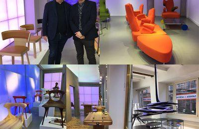 """Bei Sawaya&Moroni, in der Via Manzoni: Paolo Moroni und William Sawaya (r.) neben seinem neuen Stuhl. Die beiden Design-Unternehmer sind selbst Klassiker! in Orange: Reedition der Sitzlandschaft """"Numeri"""" von Toni Cordero aus 1996. Unten von links: """"Gu-Chair"""" von MAD-architects, """"Sloyd Bench"""" von Snøhetta und Leuchte von Zaha Hadid."""