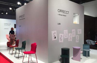 Interessantes bei Offecct: Hockertisch LAB von Alfredo Häberli und Stuhl JACKET von Claesson Koivisto Rune.