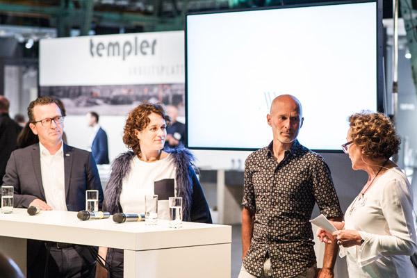 """küchenwohntrends2018: """"Quo vadis Küche?"""" Ich moderierte das Gespräch zwischen Markus Schüller, Sarah Maier und Willi Bruckbauer (von links)."""